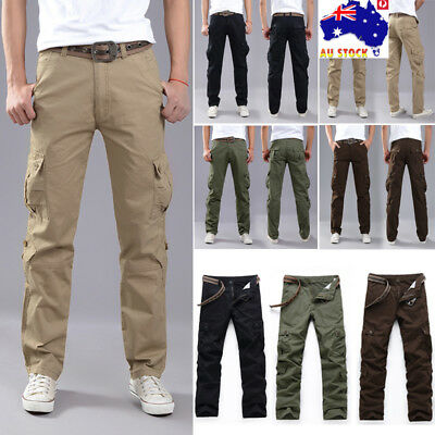 AU Mens Military Cargo Trousers Casual Tactical Camo Army Combat Work Long Pants