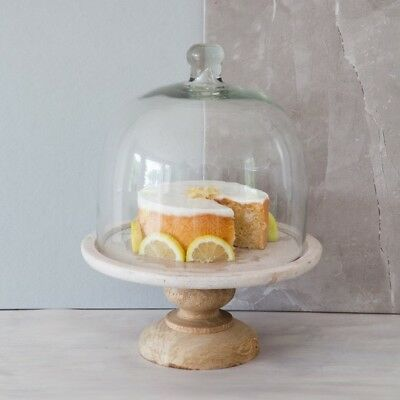Large White Marble Glass & Mango Wood Cake Stand Cloche Cover Hala Wedding Gift