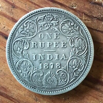 1878 British India Silver One Rupee