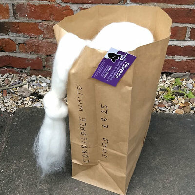 Corriedale 300g bag of natural white combed wool top