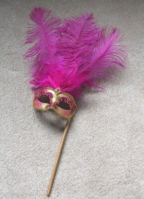 Pink & Gold,Feather Hand Held Mask & Stick Venetian Carnival Masquerade Party