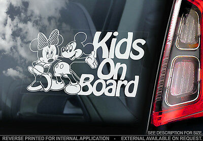 Kids on Board - Car Window Sticker - Mickey Mouse Brother Sister Decal Sign -V03