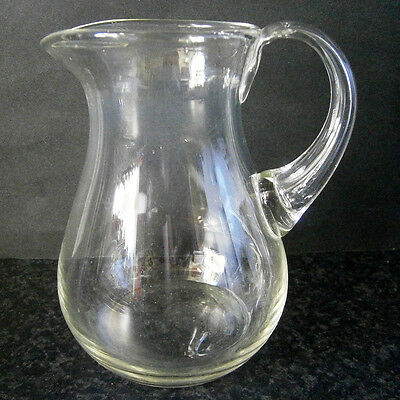 CUTE VINTAGE HANDMADE CLEAR GLASS ONE PINT JUG with CLEAR GLASS HANDLE