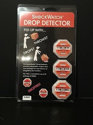 ShockWatch DROP DETECTOR 3 PER Pack (MADE FOR 75G--Packages 0-50LBS)