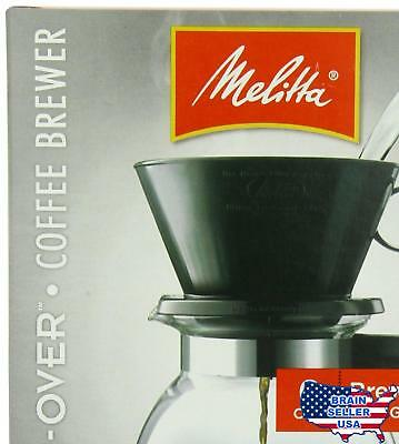 Melitta Coffee Maker, 6 Cup Pour-Over Brewer with Glass Carafe, 1-Count , New, F