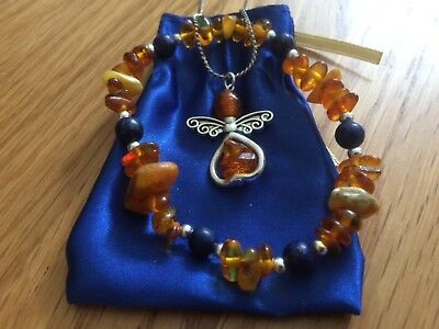 Natural Amber Bracelet with Lapis Lazuli and sterling silver chain with Angel