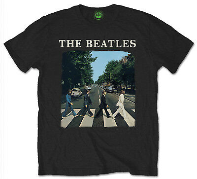 Beatles Abbey Road T-Shirt Official Mens Black Classic Rock Music Album Cover