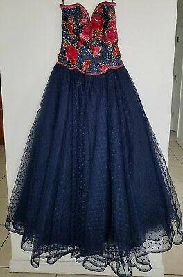 Richilene New York Neiman Marcus Seqin And Tulle Navy Princess Ball gown Size 6
