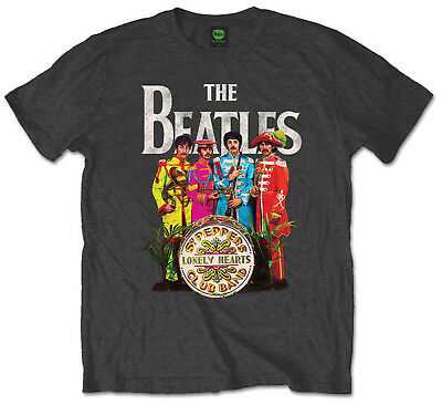Beatles Sgt Pepper T-Shirt Official Mens Grey Charcoal Classic Rock Music Album