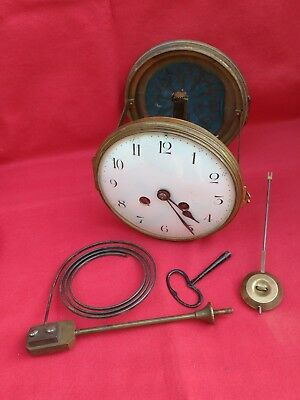 Antique Brass Striking French Clock Movement. Large Dial, Door, Pendulum, Key