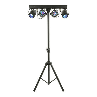 Qtx Led Effect Lighting Bar Crystal Ball Par Can Inc Stand, Remote And Bag