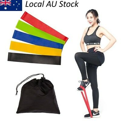1x 5x Natural Latex Exercise Resistance Loop Band Yoga Pilate Stretching fitness
