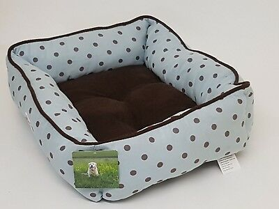 Soft Warm Brown Polkadots Seafoam Square Dog Cat Pet Bed Pillow Basket Washable