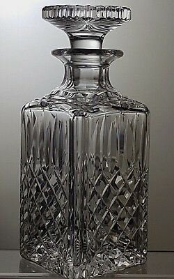 "Stuart Crystal ""tewkesbury / Glendevon"" Cut Square Whisky/ Whiskey Decanter"