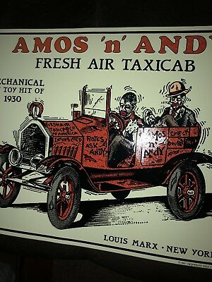 Amos N Andy Fresh Air Taxicab Metal Sign/Plaque: Collectible Vintage Orignal