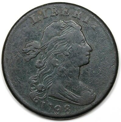 1798 Draped Bust Large Cent, Style 2 Hair, VF detail