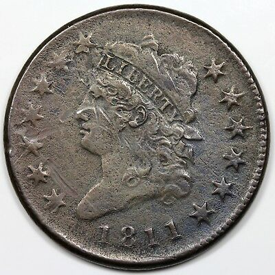 1811 Classic Head Large Cent, VF detail