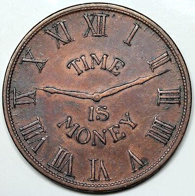 """'1837' (c. 1900) Chicago, IL: C.D. Peacock Token, """"Time is Money"""", XF detail"""