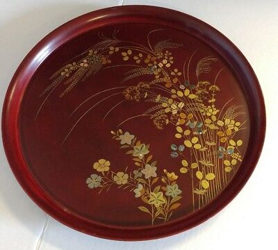Round COUROC Resin Majuni Gold & Shell Inlaid Tray Occupied Japan Vintage