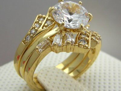 Lab Created Diamond 18K Yellow Gold Wedding Engagement 3 RING SET Size 6,7,8 & 9