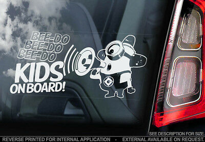 Kids on Board - Car Window Sticker - Minions Gift Decal Sign PERSONALISE V02