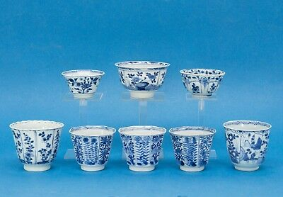 8 CHINESE BLUE & WHITE EXPORT PORCELAIN BOWLS, KANGXI PERIOD early 18th century