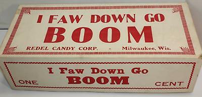 Rare Vintage ONE CENT Candy Bar Display Box Redel Candy I Faw Down Go Boom