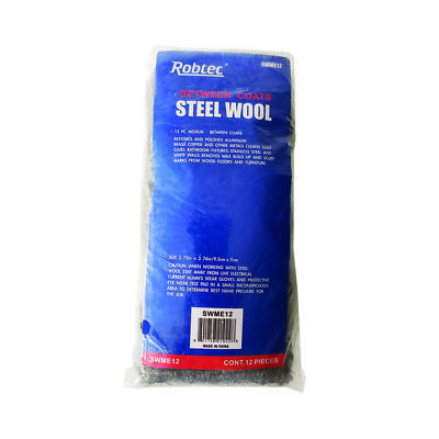 Robtec #0 Steel Wool, Medium Fine Grade (12-Pack)