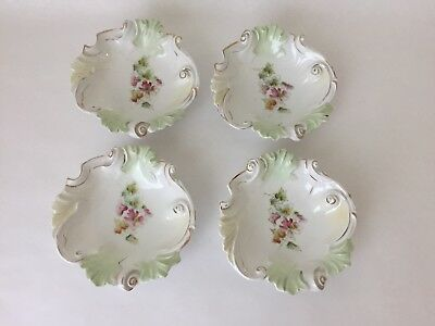 """Set of 4 Antique Green Gold Floral Painted 5 1/2"""" Swirl Bowls (S2)"""