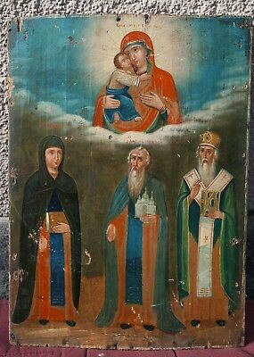"Antique 19c Russian Orthodox Hand Painted Wood Icon ""Selected Saints"""