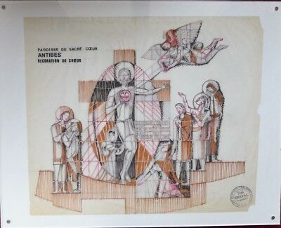 Jean Derval Dessin Collection Vallauris Art Sacre Religion 1972