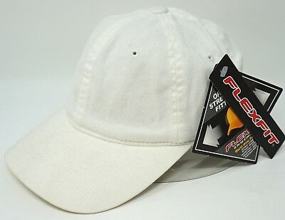 074e352dd4289 White Flex Fit Cap Low Profile Unconstructed Dad Hat Curved Visor OSFM NWT