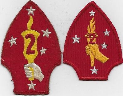 """Rare Orig Wwii (2) """"usmc, 2Nd Div, Variations"""" Patches - F/emb & Emb On Twill"""