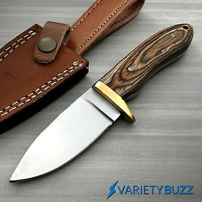 Hunting Survival Skinning Fixed Blade Knife Full Tang w/ Leather Sheath WOOD New