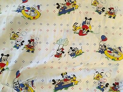Disney Babies Fitted Crib Sheet Vintage Mickey Mouse Minnie Cotton