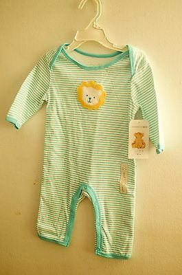 Rene Rofe Baby Boy  Striped One Piece Outfit with Lion Applique on front  NEW