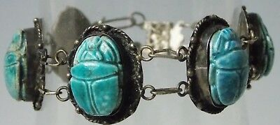 Beautiful Egyptian Revival Art Deco Silver Scarab Bracelet Green Turquoise Color