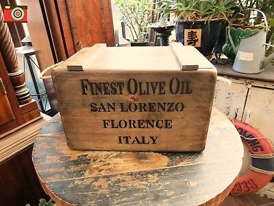 A Vintage Antique Style Finest Olive Oil Crate Italy, Box, Chest. Many Uses.