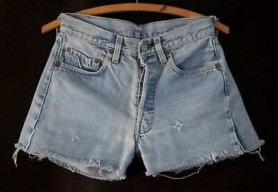 Vintage Red Line Levi's 501 Shrink-to-fit Cut Off Shorts 28 waist 3 inch inseam