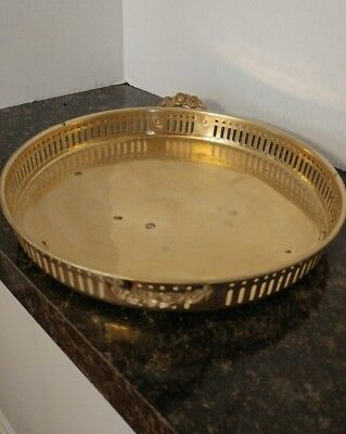 "Vintage Round Solid Brass Serving Tray Ornate 1970, Floral Handles - 10"" Round."