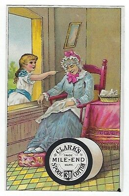 Clark's Mile-End Spool Cotton Thread late 1800's trade card #B