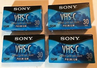 Lot of 4 New Sealed Blank SONY VHS-C Premium Camcorder VIDEO TAPE Cassettes