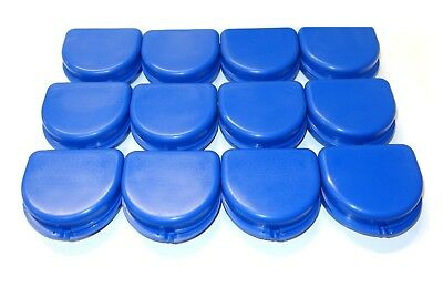 12 Dental Orthodontic Retainer Denture Mouth Guard Cases SET - Color Blue - USA