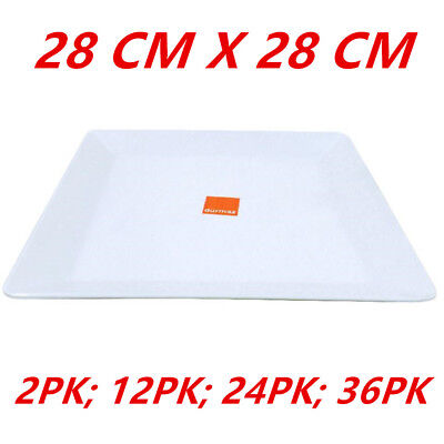 28Cm Large Glossy White Melamine Square Platters Plate Party Function Kitchen Wm