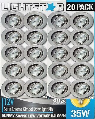 20 x Satin Chrome Gimbal Downlight Kits 12V 35W MR16 Halogen Dimmable