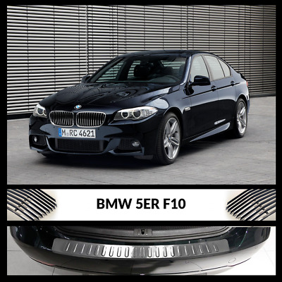 New BMW 5 Series F10 Rear Bumper Chrome Sill Cover / Protector S.Steel 03/2010 >