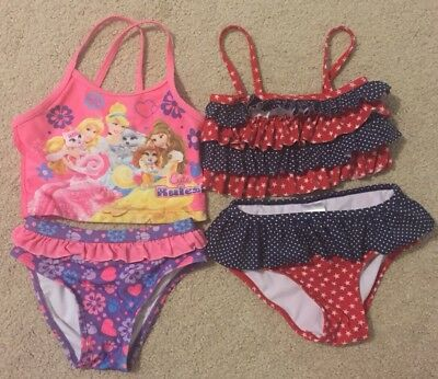 4t Girls Swimsuit Lot 2 Bathing Suits (4 Pieces) Disney And Circo