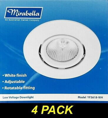 4 x White Gimbal Downlight Fittings 12V MR16 Low Voltage - 90mm cutout Gimble