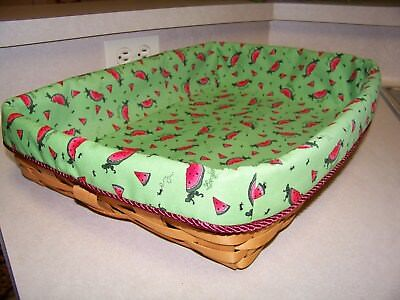 Hostess Serving Tray Basket Liner from Longaberger Watermelon Slices Fabric