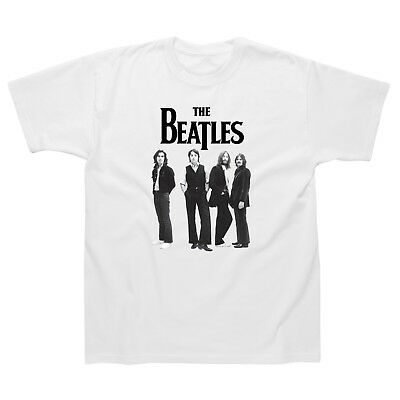 The Beatles Standing Photo T-Shirt Official Mens White Classic Rock Music Tee